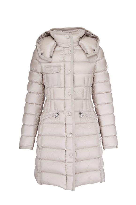 Moncler Hermine Beige Hooded Long Puffer Jacket