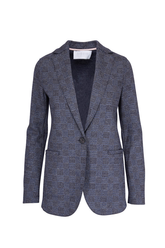 Harris Wharf Middle Gray Wool & Cotton Prince Of Wales Blazer