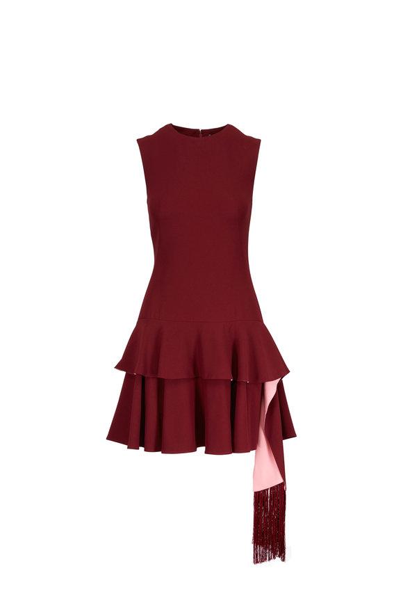Alexander McQueen Carmine Red Scarf Peplum Mini Dress