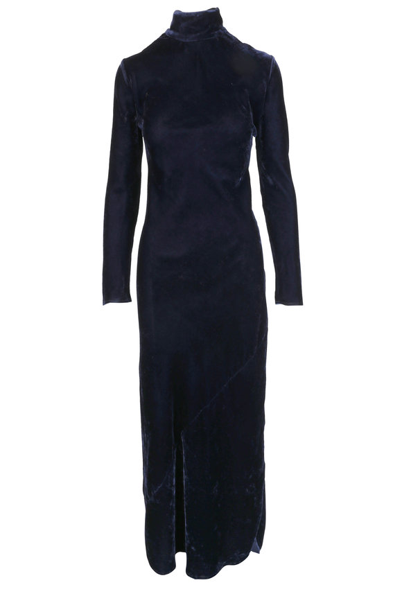 Nili Lotan Genevieve Navy Blue Bias Cut Velvet dress