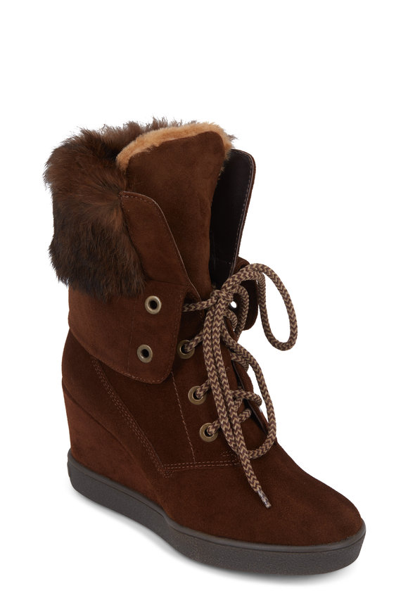 Aquatalia Cordelia Chestnut Shearling Fur Trim Boot, 65mm