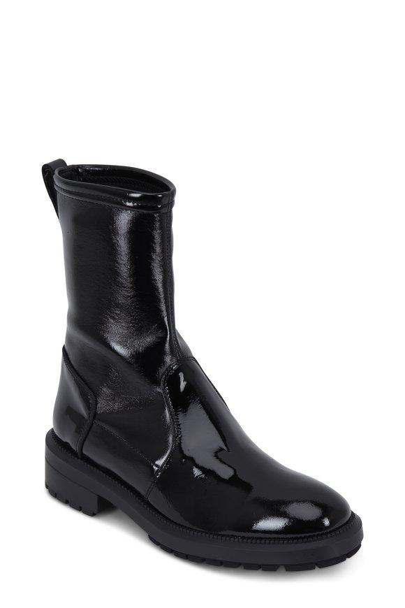 Aquatalia Leoda Black Patent Leather Weatherproof Boot