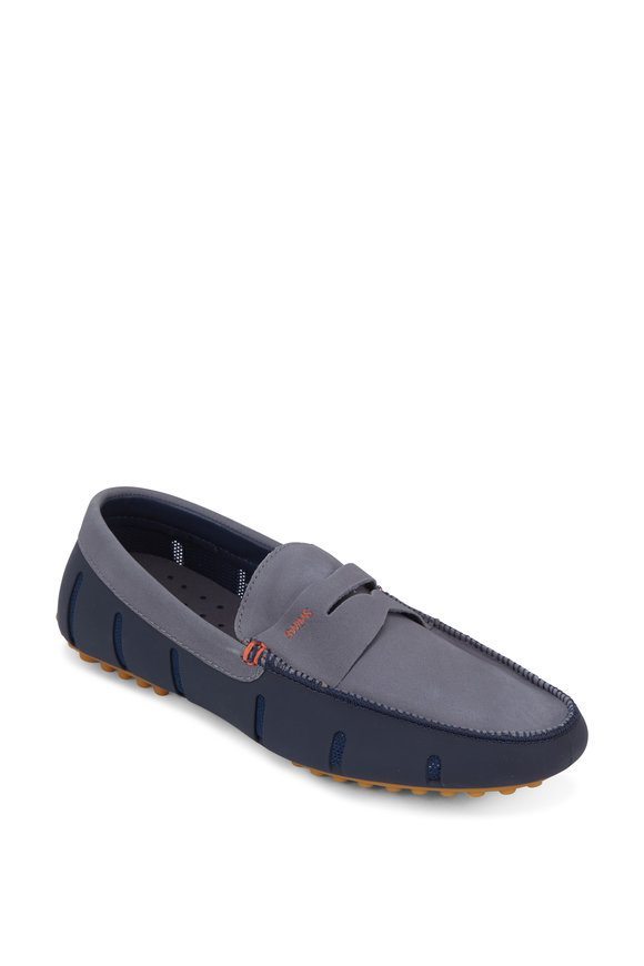 Swims Navy Blue & Gray Suede Lux Penny Driver