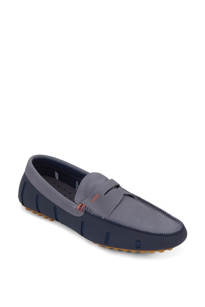 Swims - Navy Blue & Gray Suede Lux Penny Driver