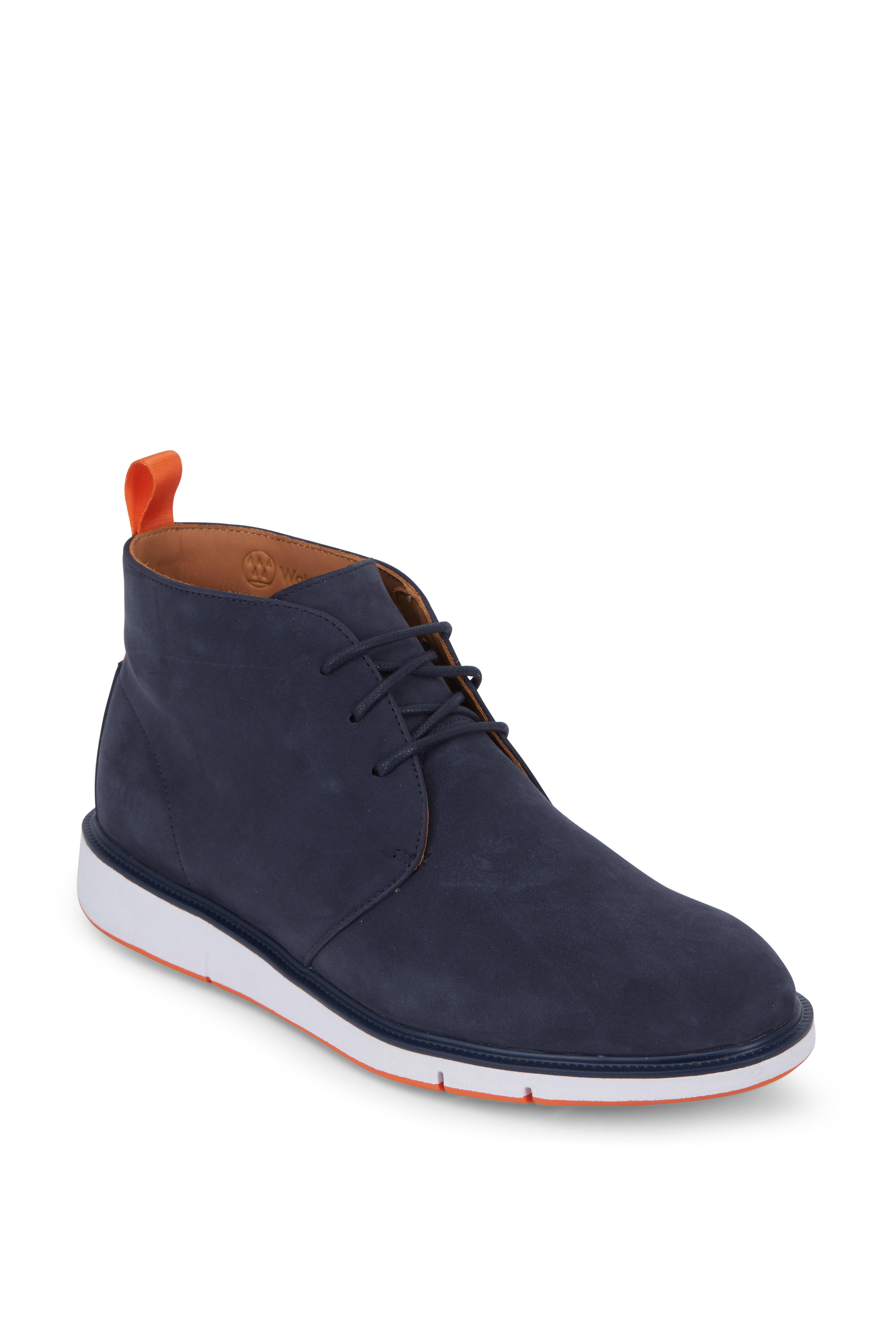 11fe94bca52 Swims - Motion Navy Blue & Orange Suede Chukka Boot | Mitchell Stores