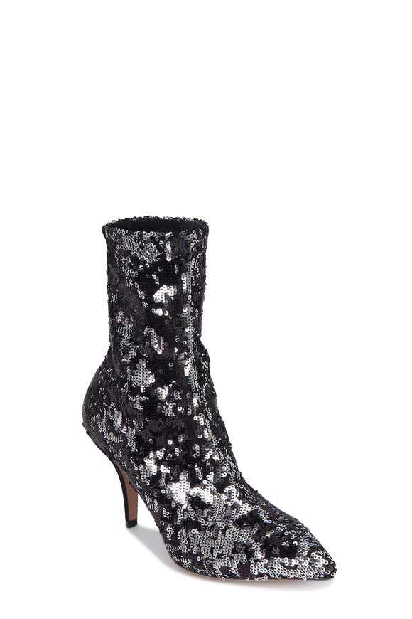 Valentino Garavani Silver & Black Paillettes Sock Bootie,  85mm