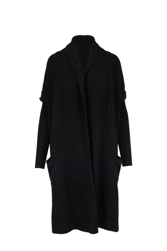 Raffi  Black Mix-Stitch Knit Shawl Collar Coat