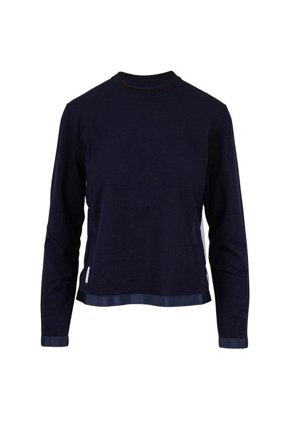 Thom Browne Navy Sheer Back Long Sleeve Crewneck T-Shirt