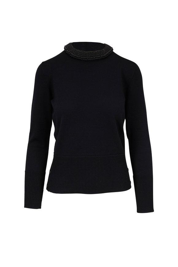 Thom Browne Black Pearl Trim Crewneck Sweater