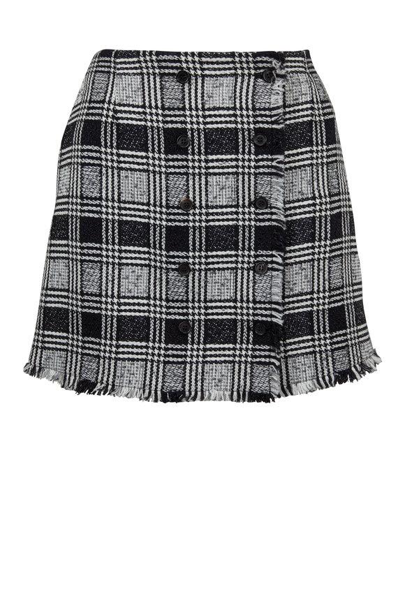 Thom Browne Black & White Tweed Frayed Hem Mini Skirt