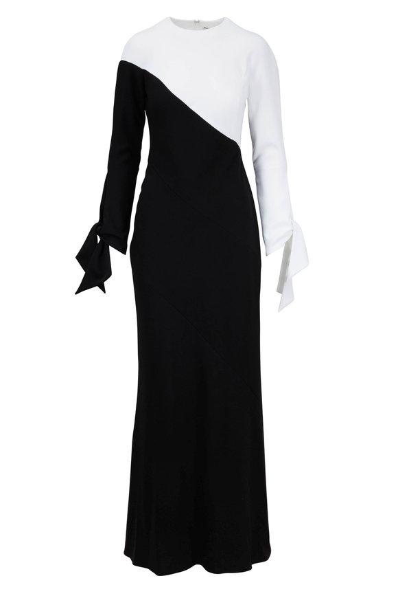 Carolina Herrera Black & White Crêpe Tie Sleeve Gown