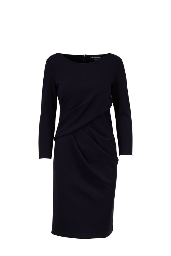 Emporio Armani Navy Stretch Jersey Side-Draped Dress