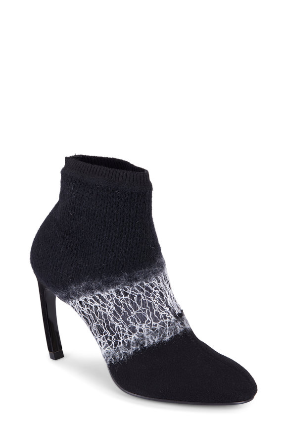 Nicholas Kirkwood Kim Black Deconstructed Knit Ankle Boot, 90MM