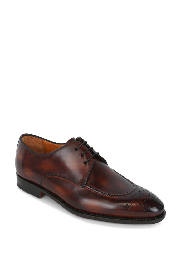 Bontoni Wood Leather Medallion Derby Shoe
