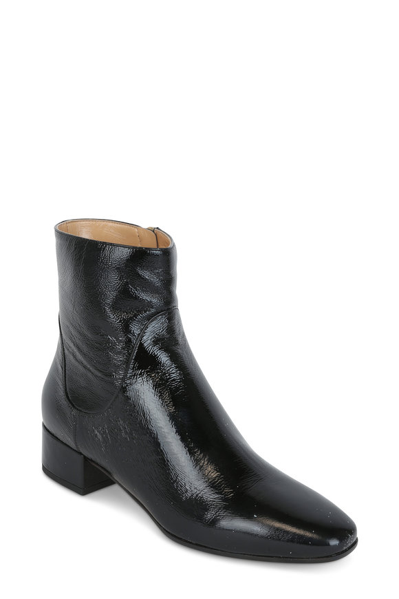 Francesco Russo  Black Patent Leather Square Toe Ankle Boot, 30mm