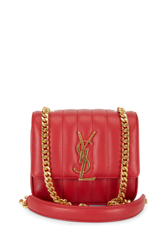 Saint Laurent Vicky Red Matelassé Small Shoulder Bag