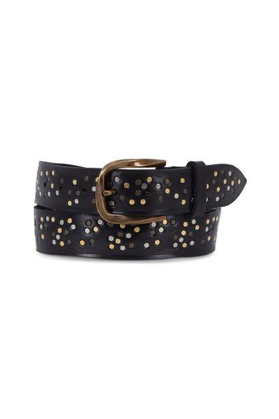 Suzi Roher - Black Leather Multi Studded Belt