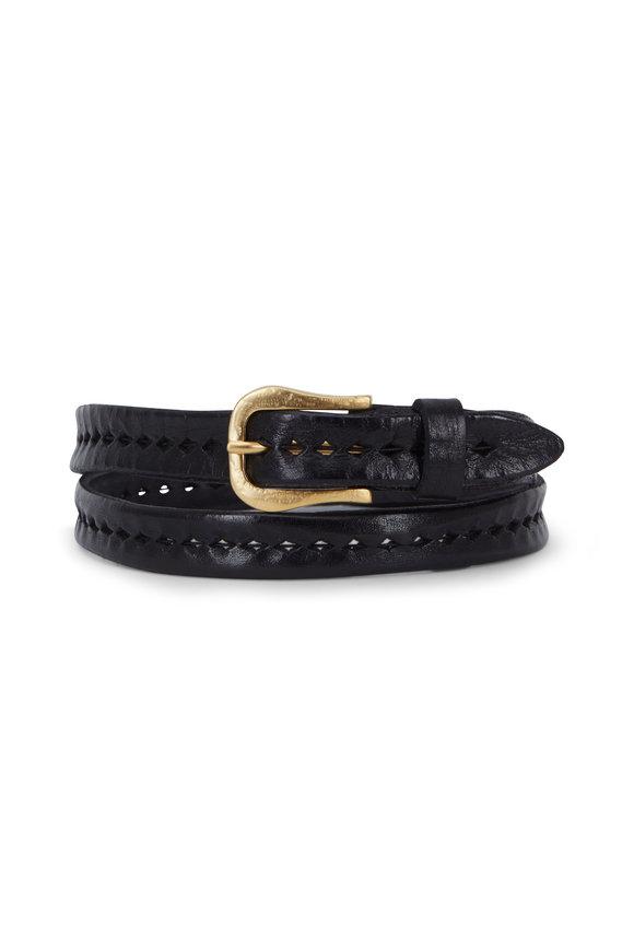 Suzi Roher Black Leather Ladder Stitch Narrow Belt