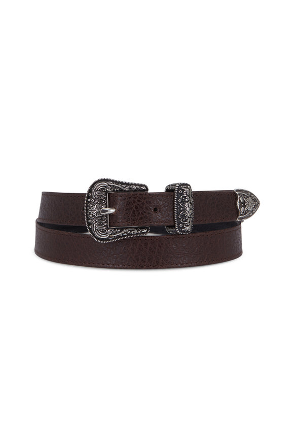 Suzi Roher Brown Grained Leather Western Buckle Belt