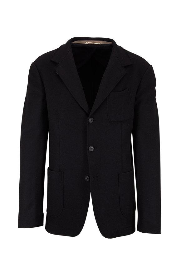Maurizio Baldassari Navy Blue Cashmere Coat
