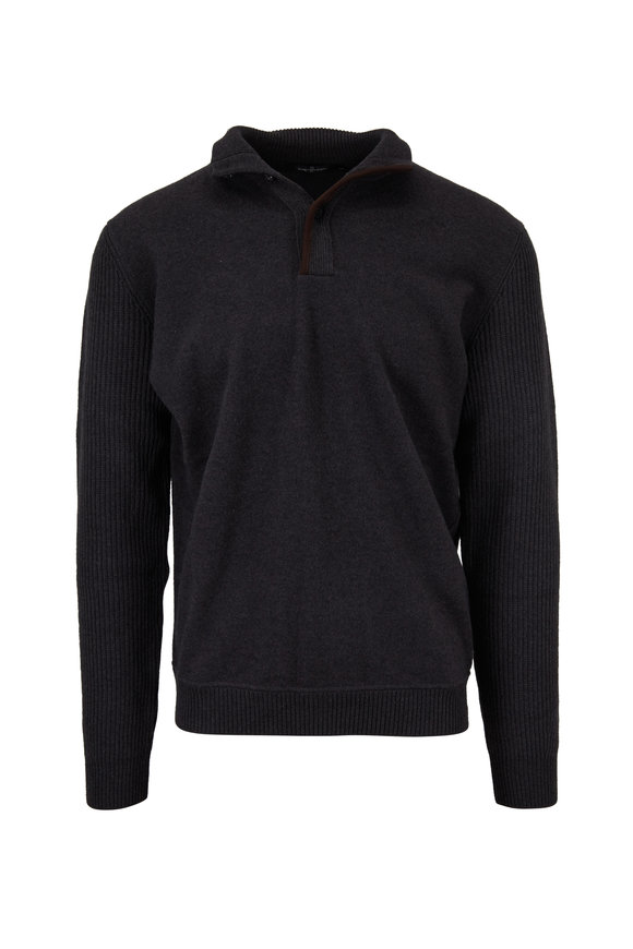 Ermenegildo Zegna Gray Wool & Cashmere Quarter-Button Pullover