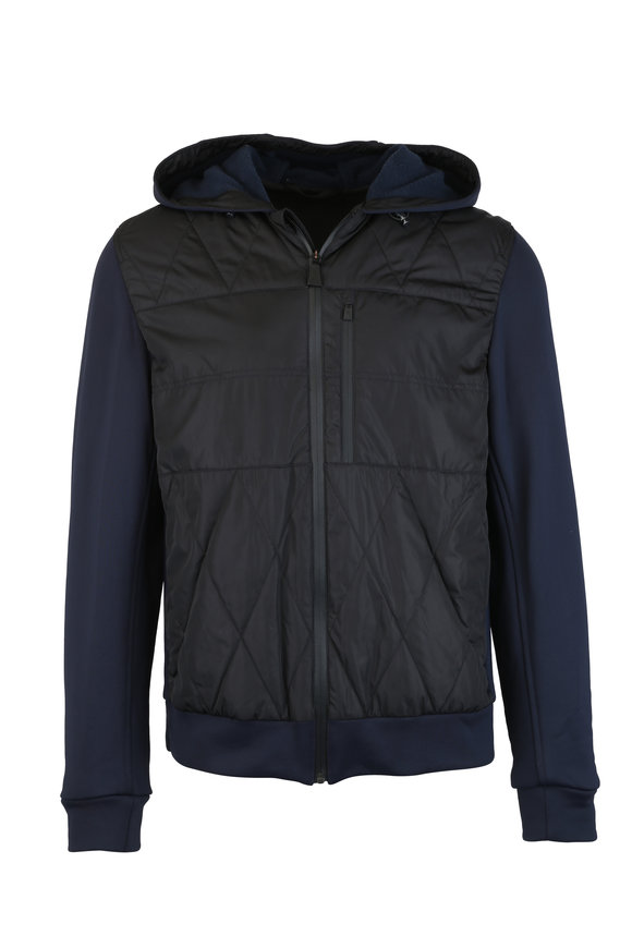Aztech Mountain Navy Blue Quilted Hooded Jacket