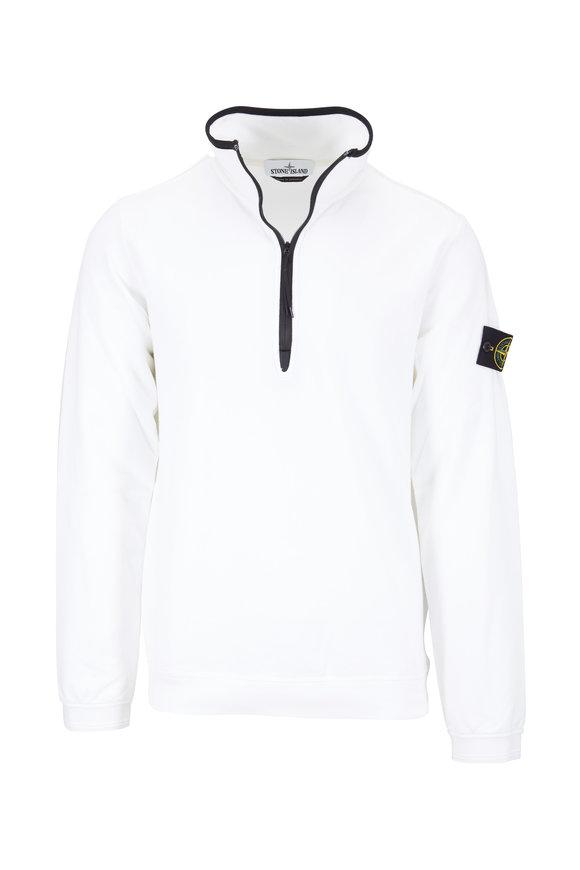 Stone Island White Stretch Cotton Quarter-Zip Sweatshirt