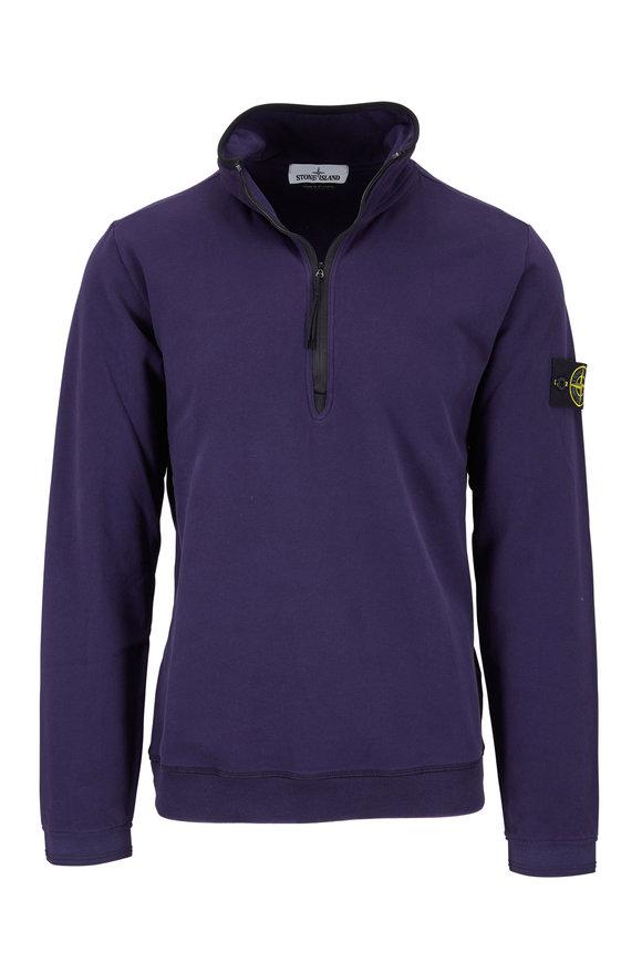 Stone Island Ink Stretch Cotton Quarter-Zip Sweatshirt
