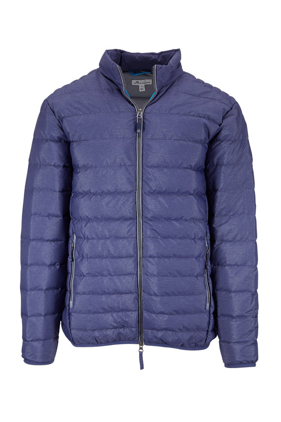 Peter Millar Navy Blue Quilted Bomber Puffer Jacket