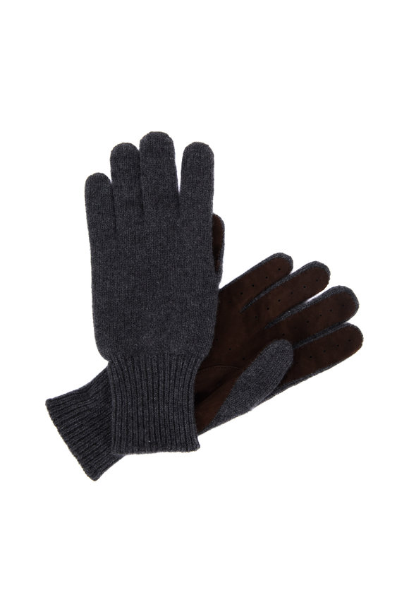 Brunello Cucinelli Charcoal Gray Cashmere & Suede Gloves
