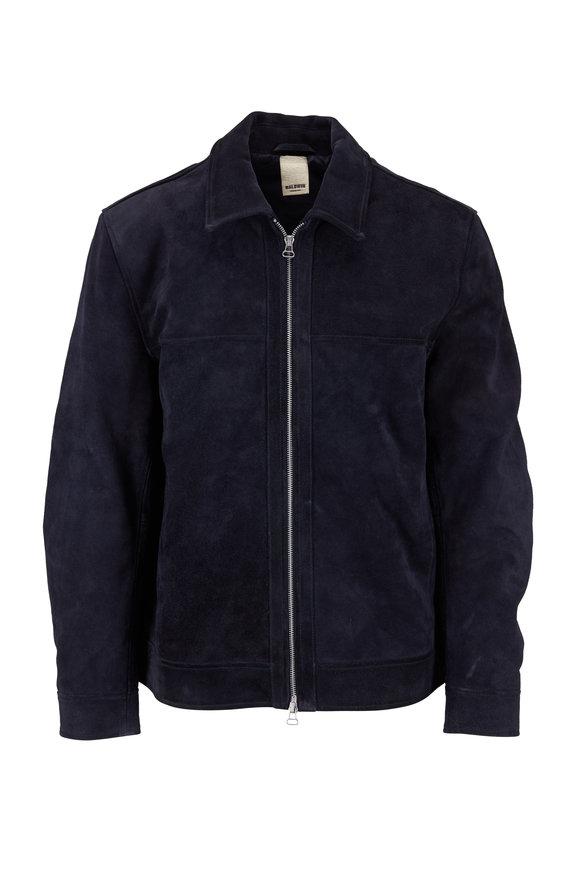 Baldwin Roswell Navy Blue Suede Front Zip Jacket