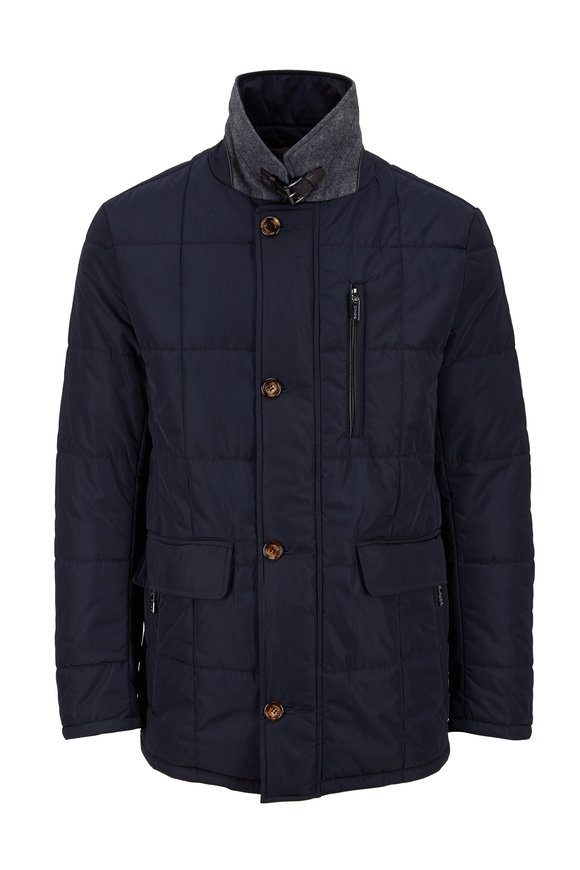 Gimos Navy Blue Nylon Quilted Jacket