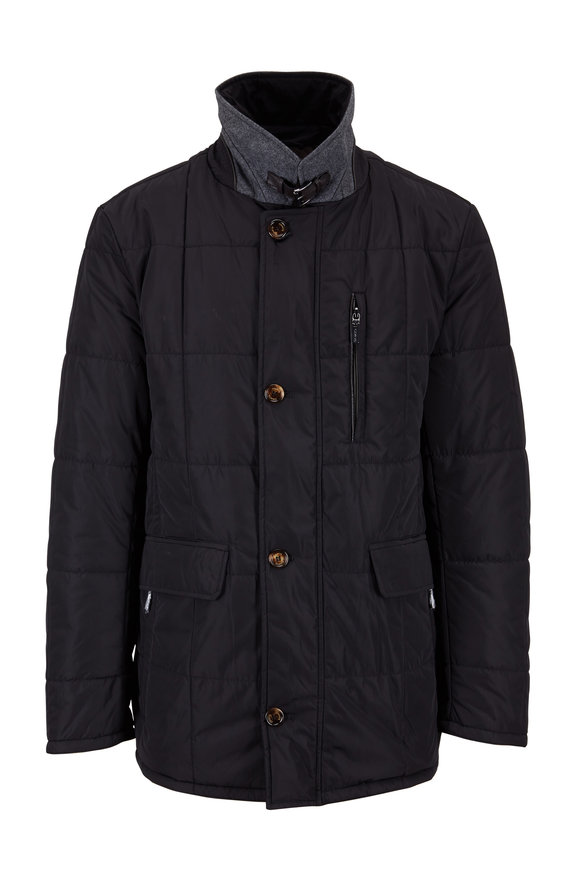 Gimos Black Nylon Quilted Jacket