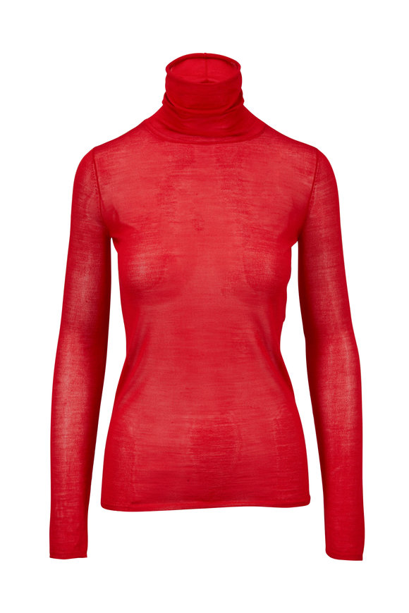 Elizabeth & James Cole Bright Red Sheer Turtleneck