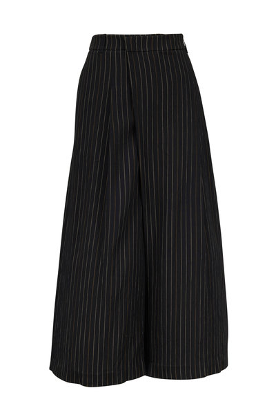 Vince - Black & Taupe Bar-Striped Culottes
