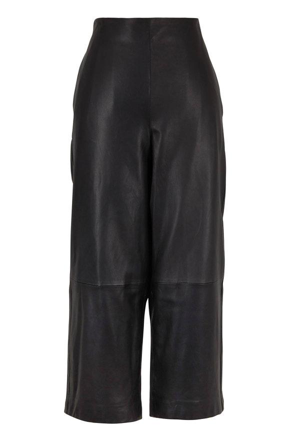 Vince Black Leather Side-Zip Culotte