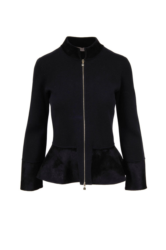 D.Exterior Black Velvet Trim Peplum Jacket
