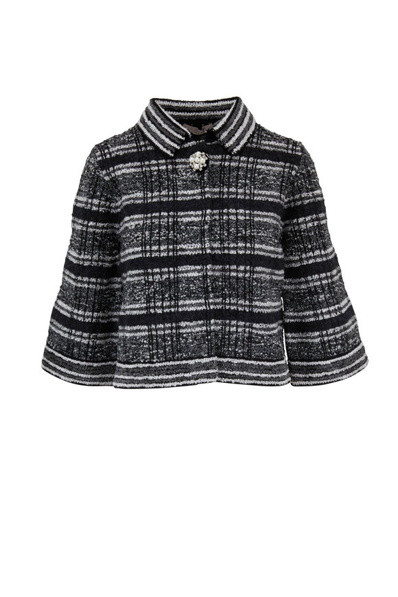 D.Exterior Black & White Tweed Cropped Jacket