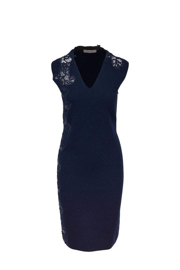 D.Exterior Navy Lace Appliqué V-Neck Dress