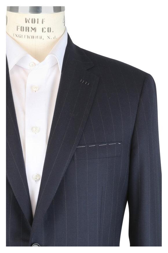 Brioni Navy Blue Pinstriped Wool Suit