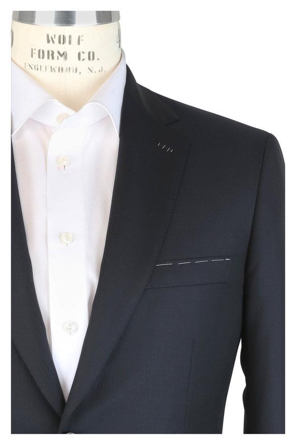 Brioni Navy Blue Tonal Striped Wool Suit