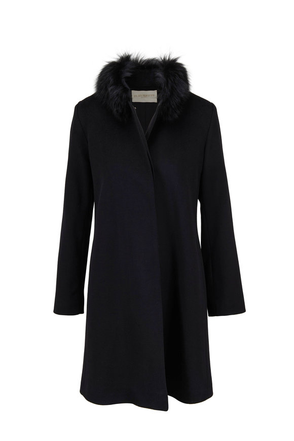 Fleurette Black Wool With Fox Collar Coat