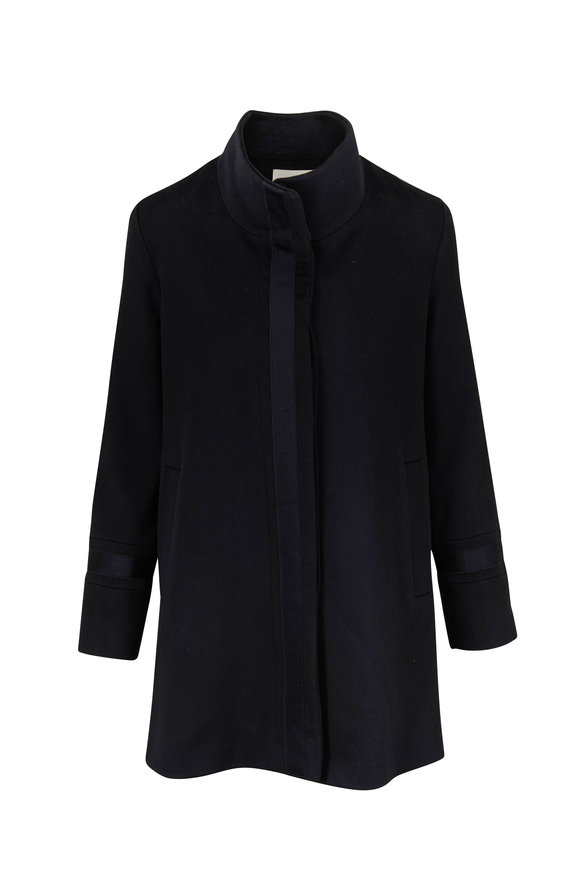 Fleurette Black Wool Satin Trim Car Coat