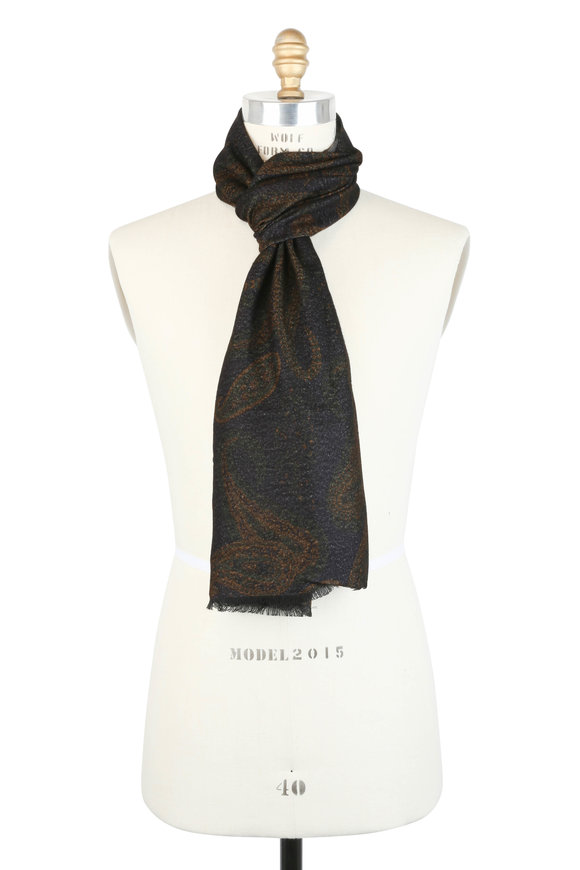 Calabrese Olive Green Paisley Print Scarf