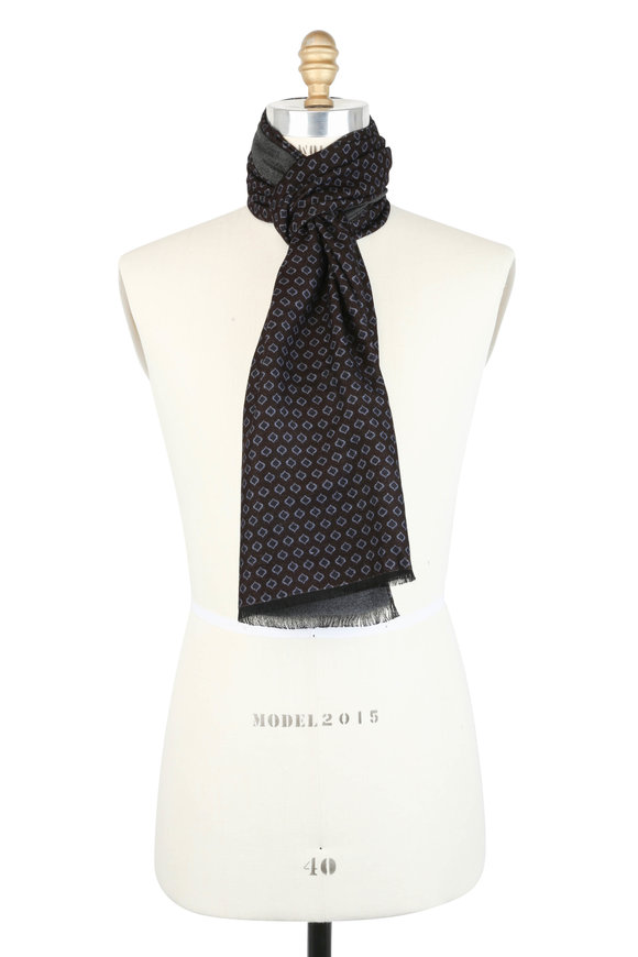 Calabrese Navy Blue Geometric Scarf