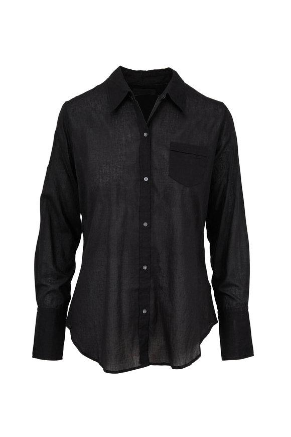 Nili Lotan Voile Black Cotton Button Down Shirt