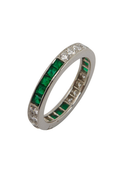 Oscar Heyman - Platinum Green Emerald White Diamond Ring
