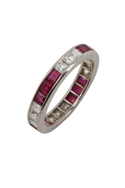 Oscar Heyman - Platinum Red Ruby White Diamond Ring