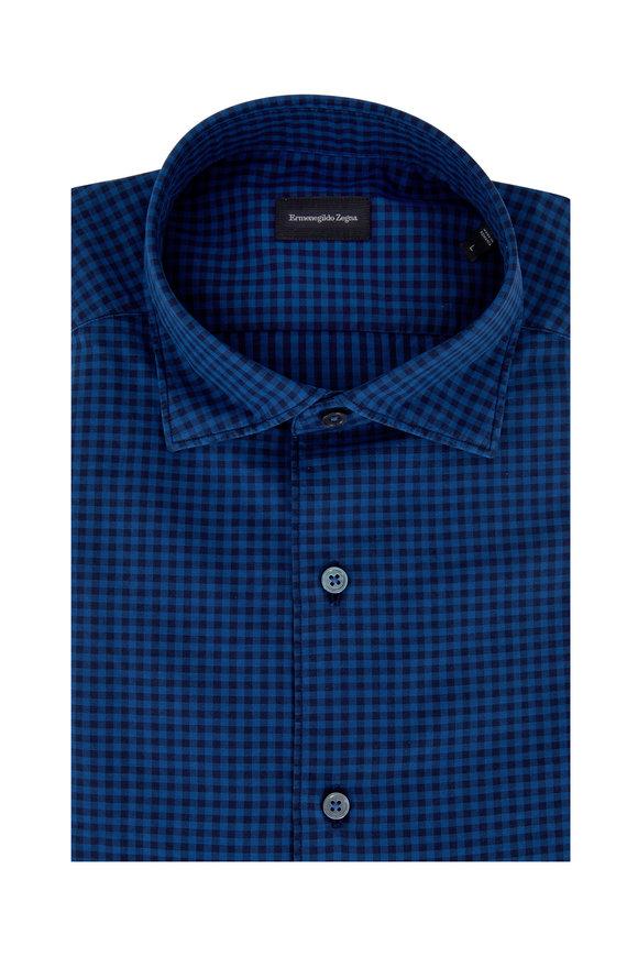 Ermenegildo Zegna Navy Blue Gingham Classic Fit Sport Shirt