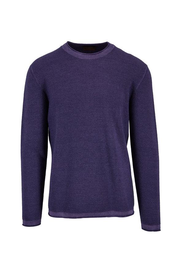 Altea Purple Merino Wool Crewneck Pullover